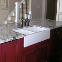 Delicatus Island Farm Sink Granite Countertop